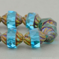 Spiral Central Cut (12x10mm) Simple Faceted Aqua Transparent with Picasso