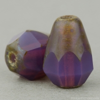 Faceted Drop-Bottom Cut (8x6mm) Purple Opaline with Picasso Finish