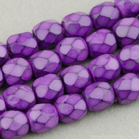Round Faceted (4mm) Lilac Opaque with Jet Honeycomb Finish