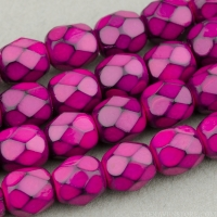 Round Faceted (4mm) Fuchsia Opaque with Jet Honeycomb Finish