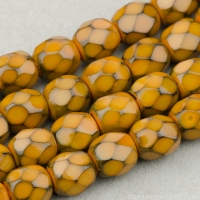 Round Faceted (4mm) Mustard Orange Opaque with Honeycomb