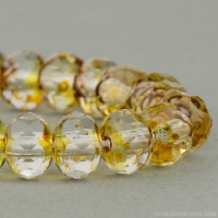 Rondelle (5x3mm) Amber Crystal Transparent with Picasso Finish