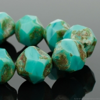 Central Cut (9mm) Turquoise Green Opaque with Picasso Finish