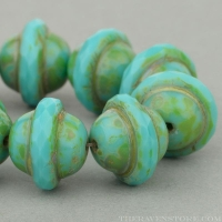 Saturn (10x12mm) Turquoise Opaque with Picasso