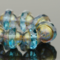 Saturn (8x10mm) Aqua Blue Transparent with Matte Antique Bronze Finish