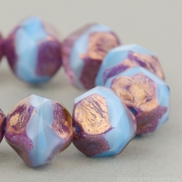 Central Cut (9mm) Light Blue Silk, Purple Transparent, and Crystal Transparent Mix with Bronze Finish