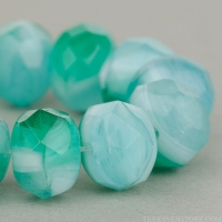 Rondelle (9x6mm) Aqua, Green, and White Mix Opaline and Transparent