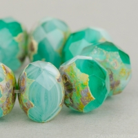 Rondelle (9x6mm) Aqua, Green, and White Opaline and Transparent with Picasso
