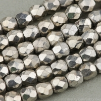 Round Faceted (3mm) Silver Finish Opaque