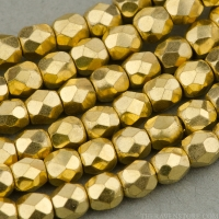 Round Faceted (3mm) Gold Finish Opaque