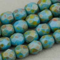 Round Faceted (4mm) Blue Turquoise Opaque with Picasso