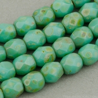 Round Faceted (4mm) Turquoise (Green 2) Opaque with Picasso