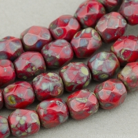Round Faceted (4mm) Red (Dark) Opaque with Picasso