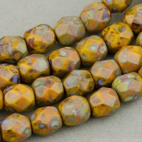 Round Faceted (4mm) Mustard Orange Opaque with Picasso