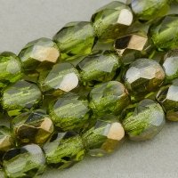 Round Faceted (4mm) Green (Olivine) Transparent with Bronze