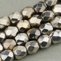 Round Faceted (4mm) Silver Finish Opaque