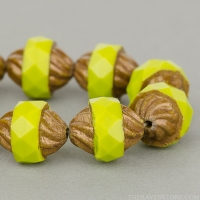Spiral Central Cut (12x10mm) Gaspeite Green Opaque with Yellow Bronze