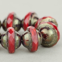 Saturn (8x10mm) Red Coral Mix Opaque with Antiqued Bronze Finish