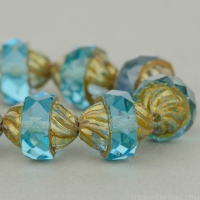 Spiral Central Cut (12x10mm) Aqua Blue Transparent with Antiqued Bronze Finish
