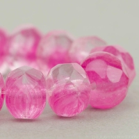Rondelle (9x6mm) Fuchsia Pink and Crystal Mix Transparent