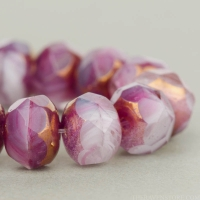 Rondelle (9x6mm) Purple, Crystal, and White Mix Opaque and Transparent with Bronze Finish