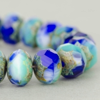 Rondelle (9x6mm) Cobalt, Turquoise, and White Mix Opaque and Transparent with Picasso Finish