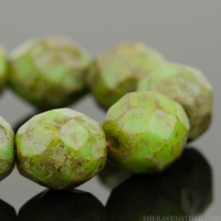 Round Faceted (8mm) Green Turquoise Opaque with Picasso Finish