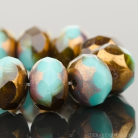 Rondelle (9x6mm) Turquoise, Green, and Dark Topaz Opaque with Bronze Finish