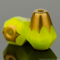 Faceted Drop - Bottom Cut (8x6mm) Lime Green Silk with Bronze Finish