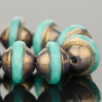 Saturn Cut (8x10mm) Turquoise Opaque with Purple Bronze Finish