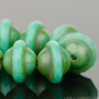 Saturn Cut (8x10mm) Turquoise Opaque with Picasso Finish