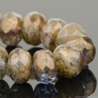 Rondelle (5x3mm) Light Aqua Transparent and Ivory Opaque Mix with Purple/Gold Luster Finish