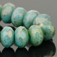 Rondelle (5x3mm) Turquoise Opaque with Purple/Gold Luster Finish