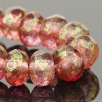 Rondelle (5x3mm) Fuschia Pink and Crystal Transparent Mix with Pink/Gold Luster Finish