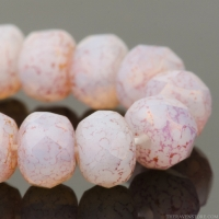 Rondelle (5x3mm) White Opaline with Pink/Gold Luster Finish