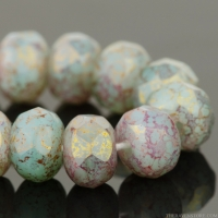 Rondelle (5x3mm) Aqua Green Opaline and Silk Mix with Gold/Pink Marbled Finish