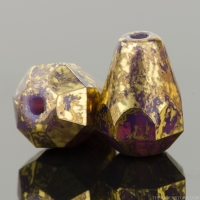 Drop Bottom Cut (8x6mm) Purple Opaline with Antiqued Gold Finish