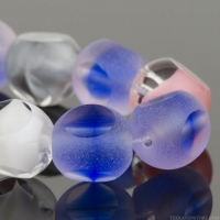 Triple Cut Round (8mm) Mixed Beads Blue, White, Crystal, and Pink Transparent Matte