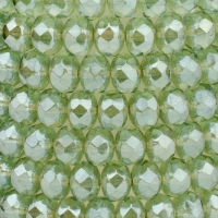 Rondelle (5x3mm) Green Transparent with White Bronze Luster