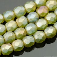 Round Faceted (4mm) Sage Green Transparent Matte with Luster