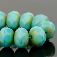 Rondelle (9x6mm) Turquoise Opaque with Picasso Finish