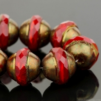 Saturn (10x12mm) Red Opaline with Antique Bronze Finish