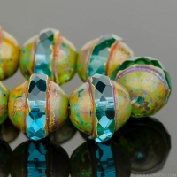 Saturn (10x12mm) Aqua Blue Transparent with Green Picasso Finish