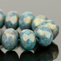 Rondelle (9x6mm) Turquoise Opaque with Mottled Metallic Purple Finish
