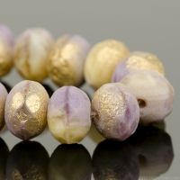 Rondelle (9x6mm) Ivory Opaque and Purple Silk Mix with Etched Gold Finish