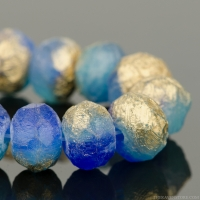 Rondelle (9x6mm) Cobalt Blue and Turquoise Opaline Mix with Etched Gold Finish