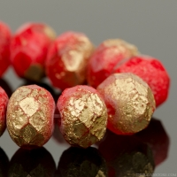 Rondelle (9x6mm) Red Coral and Ruby Red Opaque Mix with Etched Gold Finish