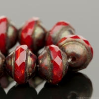 Saturn (8x10mm) Red Coral Opaline with Matte Antique Bronze Finish