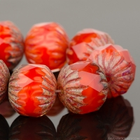 Center Faceted Round (11x10mm) Burnt Orange Silk with Picasso Finish