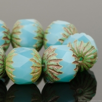 Center Faceted Round (11x10mm) Aqua Blue Opaline with Picasso Finish